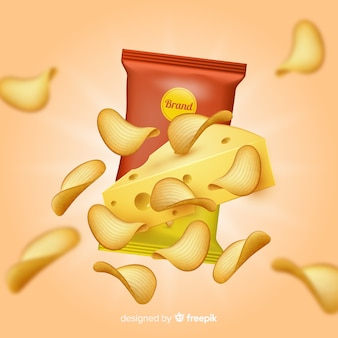 Realistic potato chips announcement background