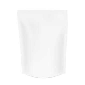 現実的なポーチバッグモックアップ。シャドウ付きのzipパッケージ。コーヒー、紅茶、その他の製品パッケージ。 3 dの白い包装の分離の白い背景を模擬
