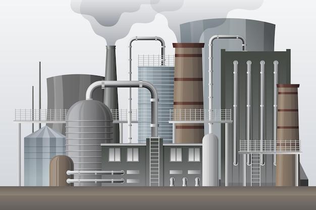 リアルな発電所のイラスト