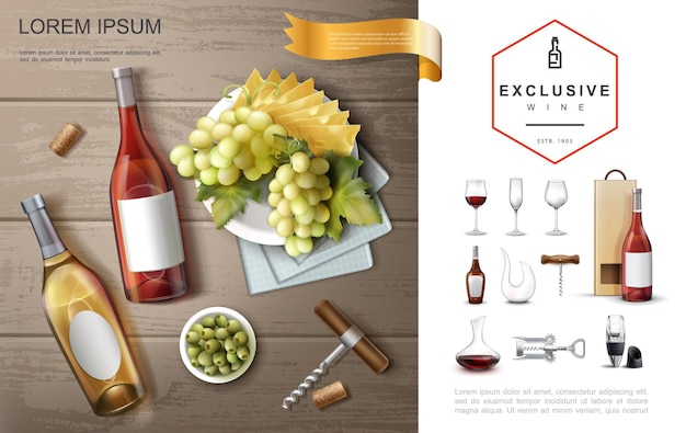 Realistic premium alcohol composition with red white rose wines wineglasses corkscrews jars