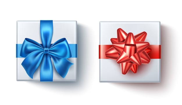 Realistic present boxes with blue and red bows