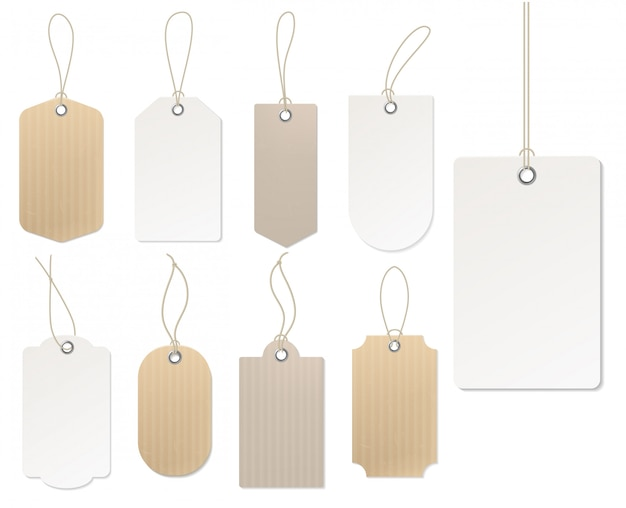 Realistic price tag. cardboard label, paper sale tags   blank labels template shopping gift empty stickers with ropes set