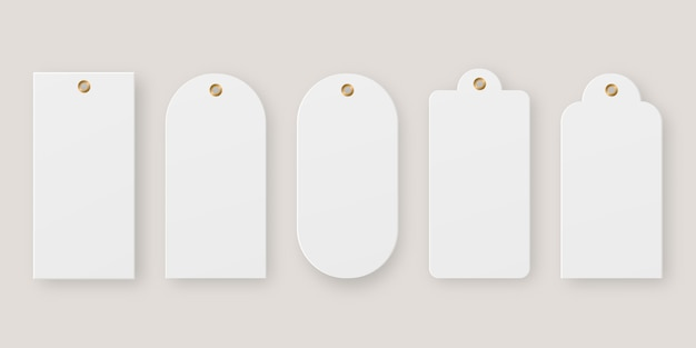 Realistic price tag. sale tag set. blank paper price label  .   . template . realistic vector illustration.