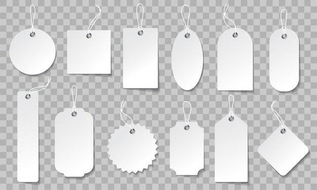 Realistic price tag set. white paper labels in different shapes.