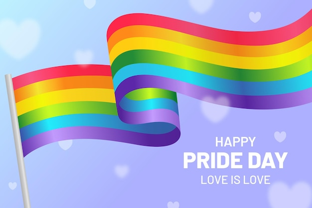 Realistic pride day flag illustration