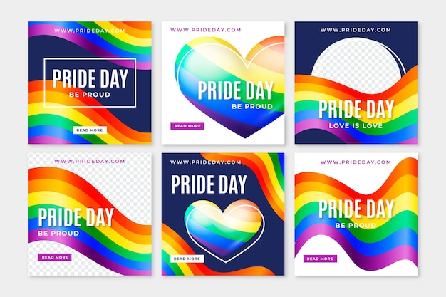 Realistic pride day instagram posts collection
