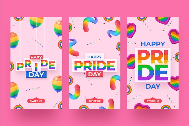 Realistic pride day instagram stories collection