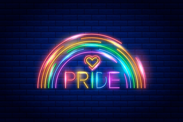 Realistic pride day neon sign