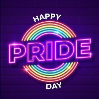 Реалистичная неоновая вывеска в день гордости