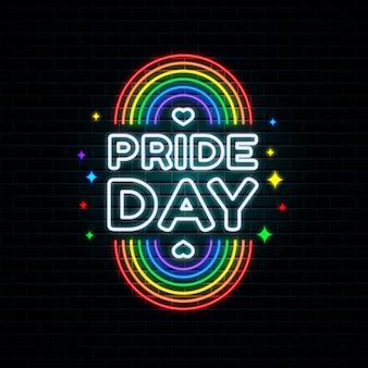 Realistic pride day neon sign