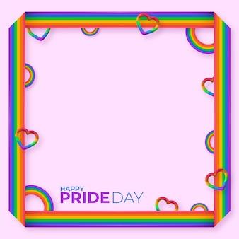 Realistic pride day social media frame template