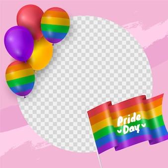 Реалистичный шаблон рамки дня гордости в социальных сетях