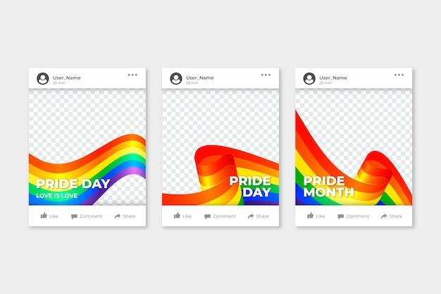 Realistic pride day social media frame