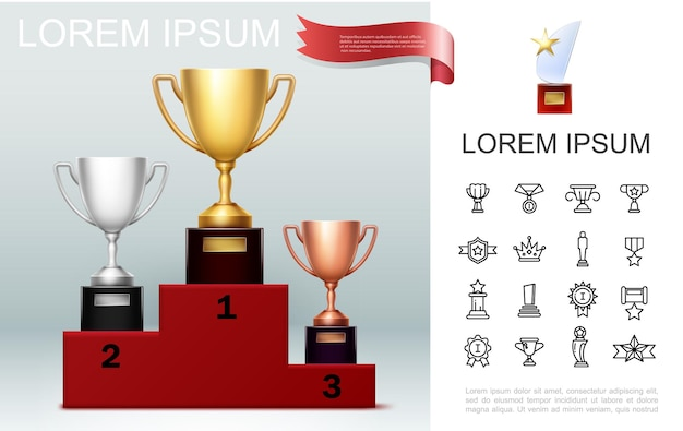 Realistic prizes concept with gold silver bronze cups on pedestal trophy with star awards and medals linear icons
