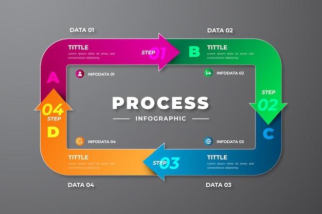 Реалистичный шаблон инфографики процесса