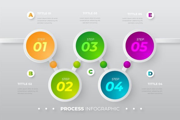 Realistic process infographic template