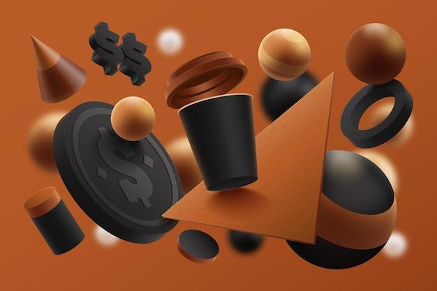 コーヒーカップと現実的な製品広告テンプレート