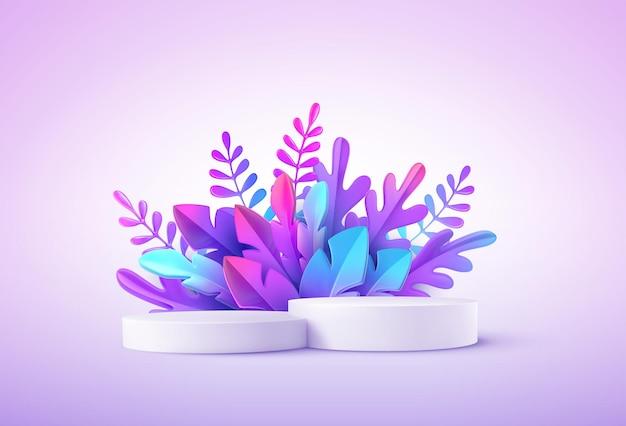幻想的な熱帯の葉を持つリアルな製品表彰台