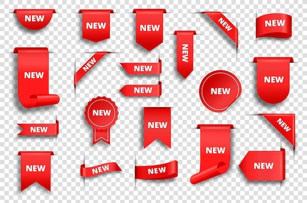 Реалистичные промо-продажи красные бирки ленты и угловые наклейки ценник скидка баннер набор