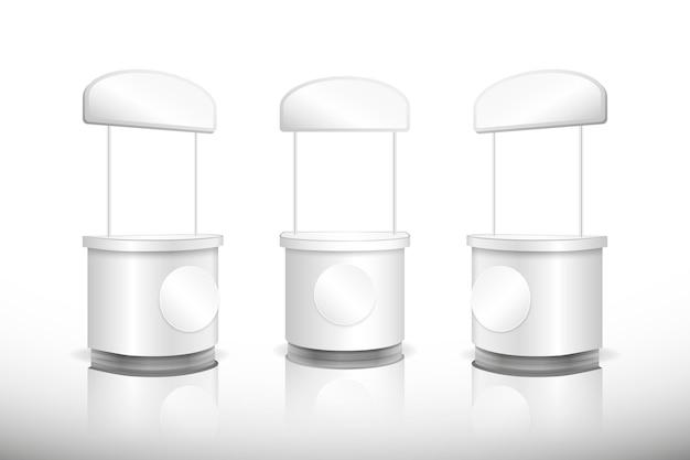 Realistico tavolo da banco promozione vista frontale e laterale