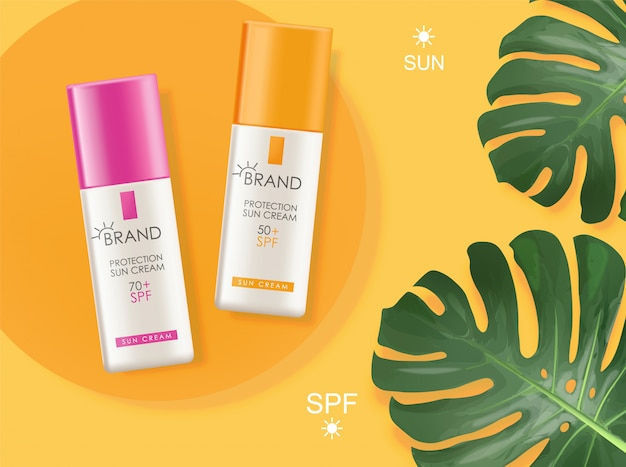 Realistic protection cream bottle isolated container, sun cream elegant design, packaging, tropical background