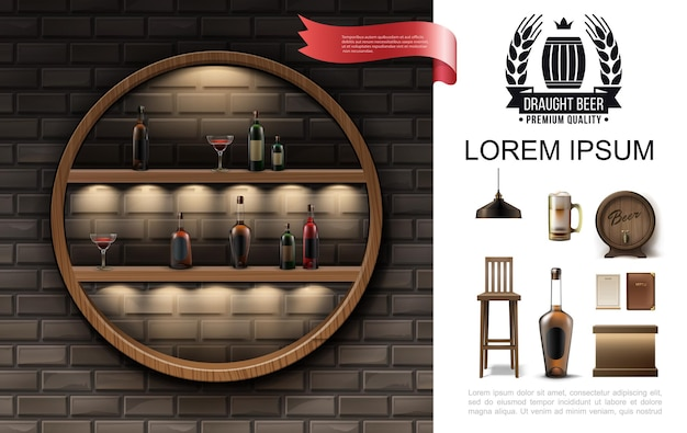 Realistic pub composition with round shelf of cocktails and bottles of alcohol drinks lamp beer glass wooden barrel menu chair bar counter