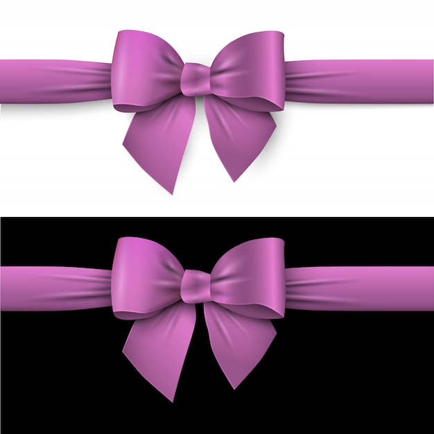 Realistic purple bow with ribbon on white and on black