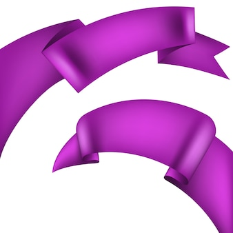 Realistic purple decorative ribbon.
