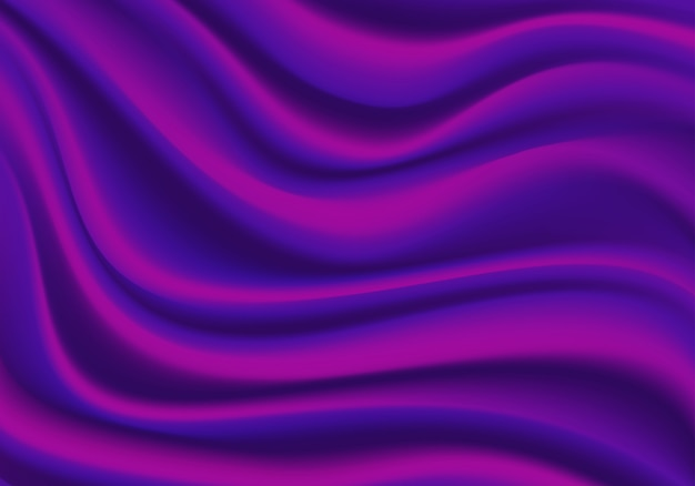 Realistic purple fabric satin wave background texture illustration.