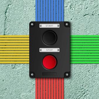 ワイヤー付きの古いコンクリート壁のリアルなプッシュボタントグルスイッチ