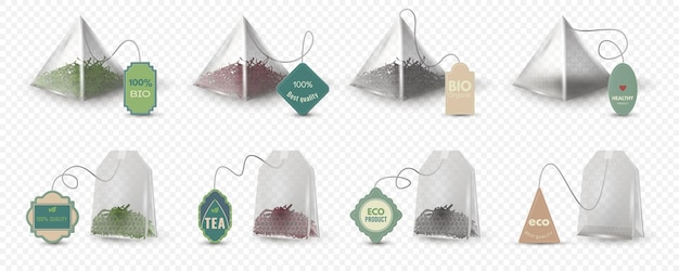 Realistic pyramid and rectangular green, red and black tea bags with tags. empty 3d teabag mockup with labels for herbal beverage vector set. pack for hot drink brewing, eco product