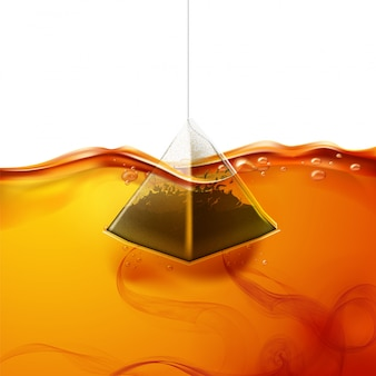 Realistic pyramid teabag dipped into water
