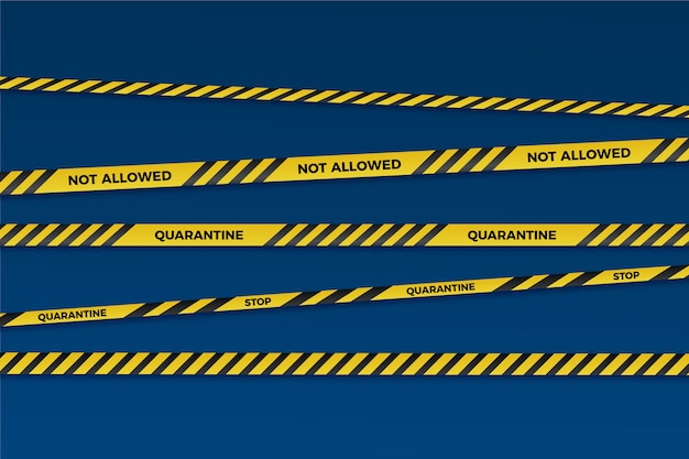 Realistic quarantine stripe set style