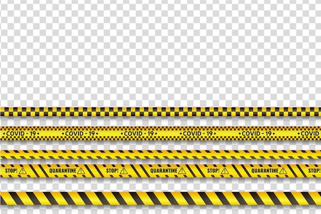 Realistic quarantine stripe set theme