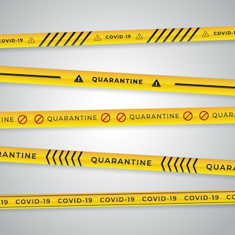 Realistic quarantine stripes in black and yellow