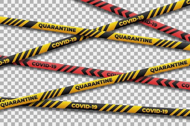 Realistic quarantine stripes for coronavirus