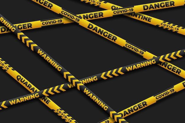 Реалистичные карантинные полосы с опасностью