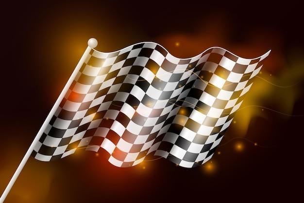 Реалистичный гоночный фон с клетчатым флагом