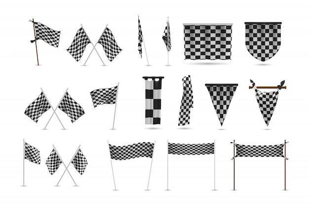 Realistic racing flags set collection