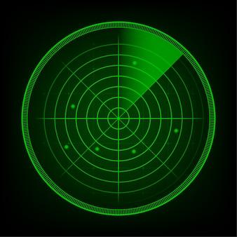 検索における現実的なレーダー。狙いを定めたレーダー画面。ストックイラスト。