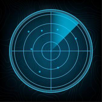 検索における現実的なレーダー。狙いを定めたレーダースクリーン。ベクトルストックイラスト。ベクトルイラスト
