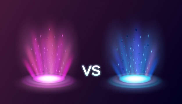 Realistic radiant magic portals pink vs blue with light effects on black background  illustration