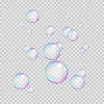 リアルな虹色の泡。カラフルなシャボン玉。透明な背景に分離されたイラスト