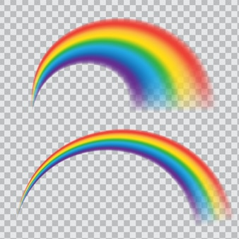 Realistic rainbow icon. multicoloured circular arc isolated on transparent background. round arch of spectrum colors.