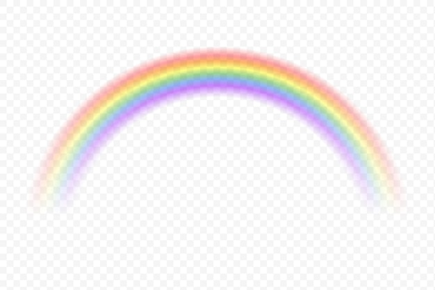 Realistic rainbow magic spectrum color after rain on transparent background