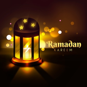 Realistic ramadan background with candle and bokeh effect