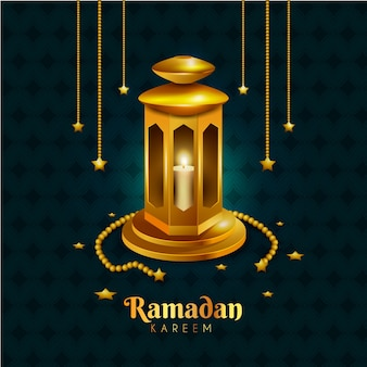 Realistic ramadan background with candle