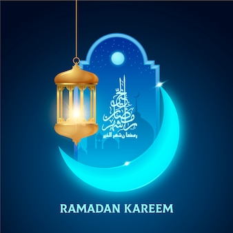 Realistic ramadan background with moon and candle