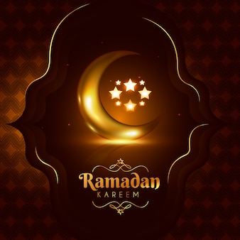 Realistic ramadan background with moon
