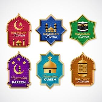 Realistic ramadan badge collection